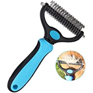 Dog Brush for Grooming 2 Sided Pet Dematting Comb Tools Safe Undercoat Rake Remove Mats and Tangles for Long Short Hair Cats Dogs