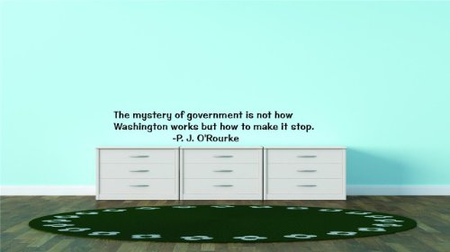 Decals & Stickers : Discounted Sale Item : The Mystery Of Government Is Not How Washington Works But How To Make It Stop. -P. J. O'rourke Famous Inspirational Life Quote - Bedroom Living Room Office Home Decor - Size : 12 Inches X 40 Inches - 22 Colors Available