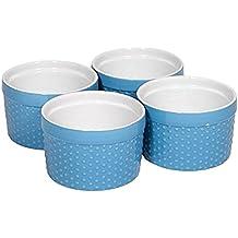 Home Essentials Mini Stoneware Hobnail Ramekins Textured Porcelain, Mousse, Custard, Baking, Soufflés, Quiche Cups, 6 oz, Aqua, Set of 4