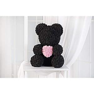 Teddy Bear Rose - Black, Rose Bear, Forever Rose Bear, Love Bear, Faux Flower Rose Teddy Bear, Forever Black Rose Bear 55