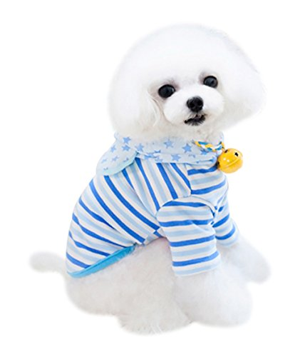 Freerun Cute Comfy Elastic Dog Clothes Apparel Cotton Stripes Stars T-Shirt with Hat Dog Costume - Blue, S
