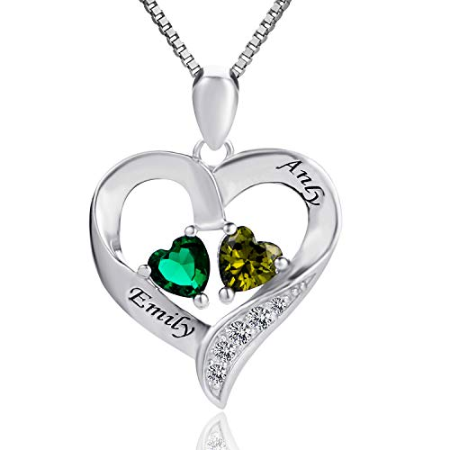 (MissNity Personalized Engraved 2 Names Necklaces Birthstones Women Sterling Silver Custom Promise Heart Pendant Jewelry (Silver))