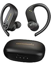 HAPPYAUDIO S1 Bluetooth 5.0 TWS Fone de ouvido sem fio esportivo com ganchos de ouvido Controle de volume do microfone integrado, IPX7 resistente à água à prova de suor, 56 horas de reprodução