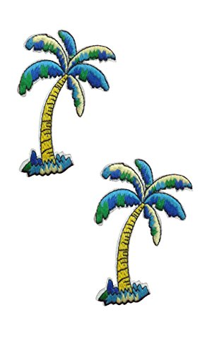 2 pieces COCONUT TREE Iron On Patch Fabric Applique Motif Travel Summer Holiday Hawaii Children Decal 3 x 2.4 inches (7.5 x 6 cm) Coconut Fabric