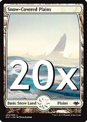 20 Modern Horizons Snow Covered Plains #250 MTG Basic Full Art Land Lot...