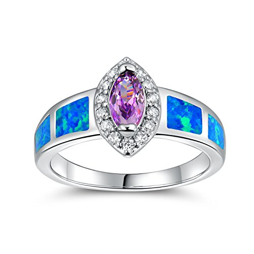- OPALTOP Marquise-Shape Created-Amethyst 4x8MM Blue Opal Cubic Zirconia Engagement Ring for Women Platinum Plated (8)