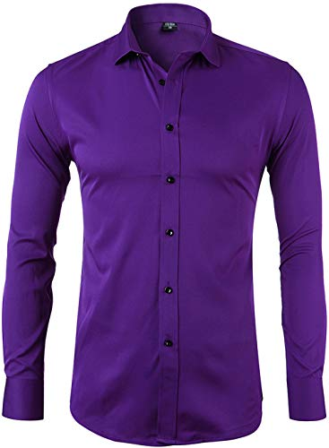 Men's Bamboo Fiber Dress Shirts Slim Fit Solid Long Sleeve Casual Button Down Shirts, Elastic Formal Shirts for Men,Purple Shirts,16.5