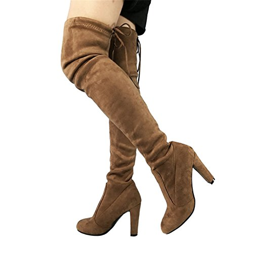 Dormery Top Faux Suede Women Thigh High Boots Stretch Slim Sexy Fashion Over The Knee Boots Female Shoes High Heels Black Gray Wine Nude (Stretch Platforms Lace)