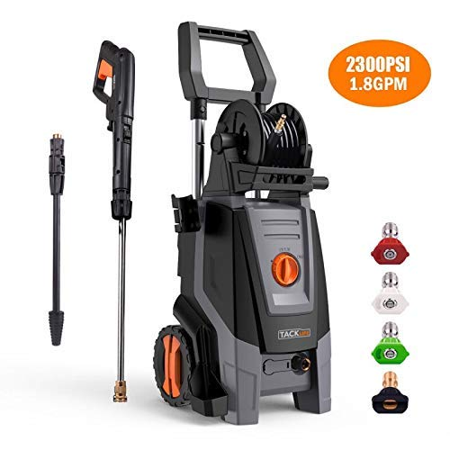 Tacklife Pressure Washer, 2000W 2320PSI 1.72 GPM, High Efficiency, Electric Pressure Cleaner,Pure Copper Motor, 360 ° Easy to Remove Dirt, TSS Stop System, High Power Pressure Cleaner for Vehicle, Hom