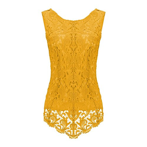 Sumtory Women's Lace Blouse Sleeveless Embroidery Tops Vest Shirt Blouse – Small, Yellow