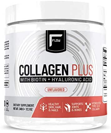 Flow Supplements Collagen Peptides Protein Powder Collagen Supplements with Hyaluronic Acid + Biotin Hydrolyzed Collagen Peptides Multi Collagen Powder Type I and III - 348 Gram (Pack of 1)