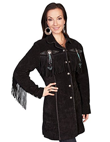 Boar Suede Jacket (Scully Leather Womens Western Fringe 3/4 Length Boar Suede Jacket Black XS)