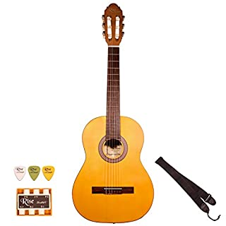 Rise by Sawtooth 6 String 3/4 Size Beginner's Acoustic Guitar with Accessories, Satin Red Stain, Right Handed, (ST-RISE-CL-3/4-R)