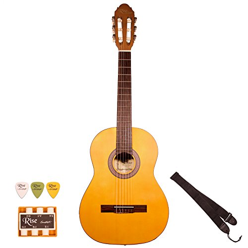 RISE-CL-N Full Size Beginner's Acoustic Guitar with Accessories, Satin Gold Stain (Satin Gold Angle)