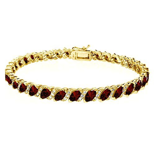 (GemStar USA Gold Flashed Sterling Silver Garnet Marquise-Cut Tennis Bracelet with White Topaz Accents)