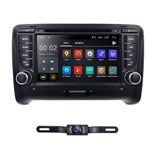 hizpo 7 Inch Android 8.1 Double Din Car Stereo Radio DVD Player for Audi TT MK2 2006-2014 Support Steering Wheel Control GPS Navigation Mirrorlink Bluetooth + Optional Digital TV DVR OBD2