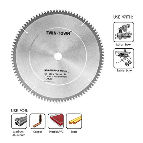 TWIN-TOWN 12-Inch 96 Tooth TCG Aluminum and Non-Ferrous Metal Saw Blade with 1-Inch Arbor ()