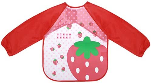 Healifty Kid Painting bib Sleeved Bib Baby Bib Waterproof Toddler Bib Smock Washable Stain and Odor Resistant Painting Clothes(Red Strawberry)