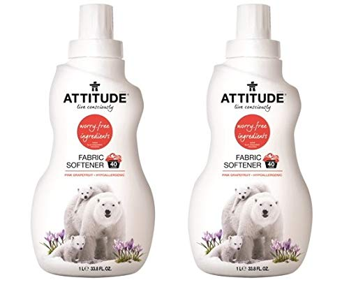 Natural Fabric Softener, Hypoallergenic, with 100% Worry-Free ingredients - Pink Grapefruit (40 loads) (Pack of 2) by by Attitude