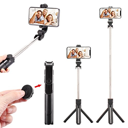 WONGYEAH Bluetooth Selfie Stick Tripod Extendable Selfie Stick with Wireless Remote for iPhone X/8/8 Plus/7/7 Plus/6S/Galaxy S9/S9 Plus/Note 8/S8 /S8 Plus/Google Pixel & More (BLACK) by WONGYEAH