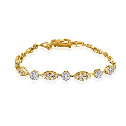 10K Solid Gold Round Cut Natural Diamond Link Style Cluster Bracelet (1.75 Ct) (yellow-gold)
