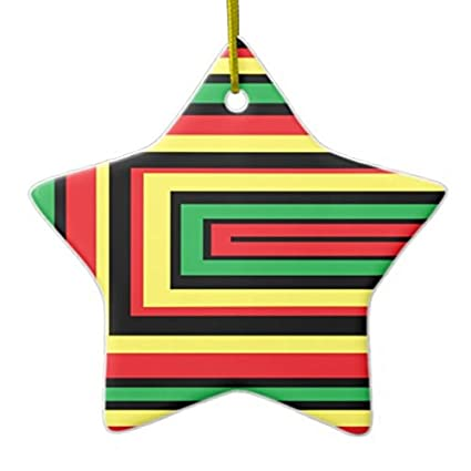 Christmas Ornaments Holiday Tree Ornament Jamaica Rasta Roots Colors Both Sides Star Ceramic Ornament Crafts Christmas
