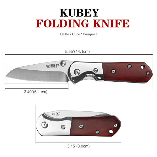 KUBEY Cutlery Wood Folding Pocket Knife, Thumb Open and Liner Lock, for Outdoor Camping Hiking and Everyday Carry (#KK112)