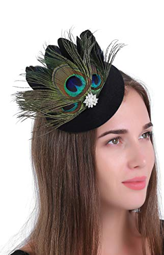 Zivyes Fascinator Hats for Women Pillbox Hat with Veil Headband and a Forked Clip Tea Party Headwear (B-Black+Peacock) ()
