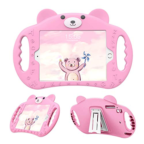 pzoz Case Compatible iPad Mini Case for Kids Shockproof Silicone Handle Stand Proof Boys Bear Cover for Apple iPad Mini 1st Generation Gen 7.9 1 2 3 4 Model A1432 A1455 A1489 A1490 A1538 (Pink)