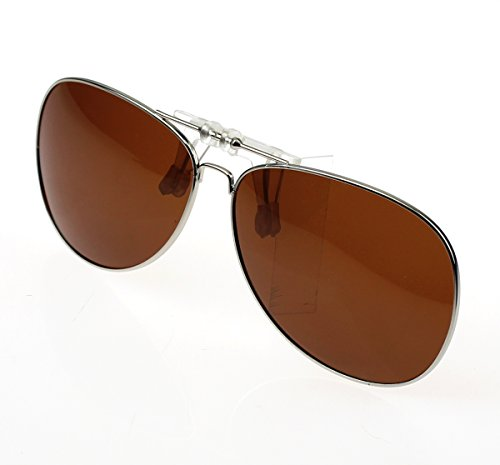 Jaky Retro Polarized Glasses Clip on Flip up Classic AVIATOR Mens&Womens Sunglasses