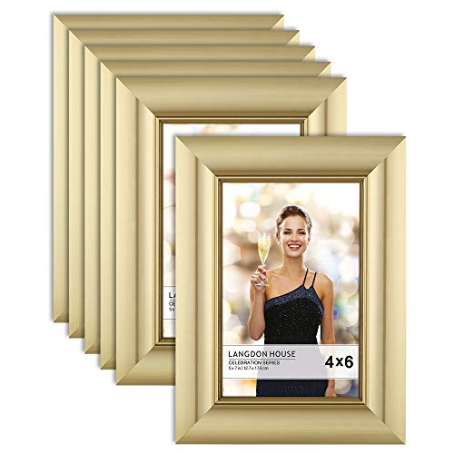 Cheap Gold Frames (Langdon House 4x6 Picture Frame (6 Pack, Gold), Gold Photo Frame 4 x 6, Wall Mount or Table Top, Set of 6 Celebration)