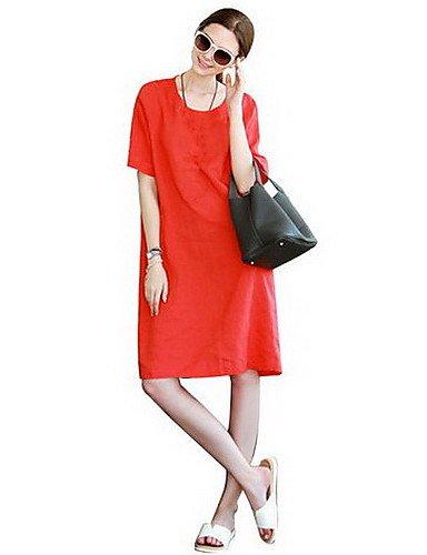PU&PU Robe Aux femmes Ample Simple,Couleur Pleine Col Arrondi Mi-long Coton / Lin , orange-xl , orange-xl