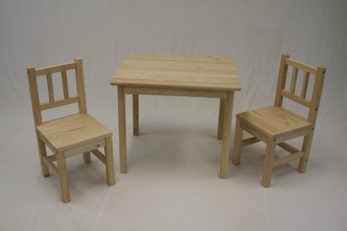eHemco Kids Table and 2 Chairs Set Solid Hard Wood (Unfinished Wood Finish Chair)