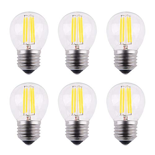OPALRAY DC 12V 4W LED Mini Globe Bulb, Dimmable with DC Dimmer, E26 Medium Base, 2700K Warm White Light, 40W Incandescent Replacement, for Solar System 12Volts Battery Power, 6-Pack