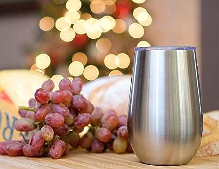 Juego de copas de vino de acero inoxidable con tapa, 2 – 340 ml con aislamiento de doble pared – 100% irrompible y sin tallos – Juego de vasos de vino para exteriores: vino, café y camping