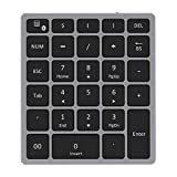 Bluetooth Numeric Keypad, Jelly Comb Rechargeable Portable Wireless Bluetooth 28-Key Number Pad with Multiple Shortcuts for Tablet, Laptop, Notebook, PC, Desktop and More (Grey and Black)