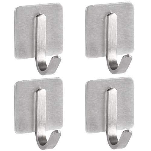 CHICHIC Adhesive Hooks Towel Robe Bathrobe Hook for Hanging SUS 304 Stainless Steel Brushed Nickel Heavy Duty Wall Hanger Storage Stick Coat Holder Bathroom Kitchen Home Office 4 Pack