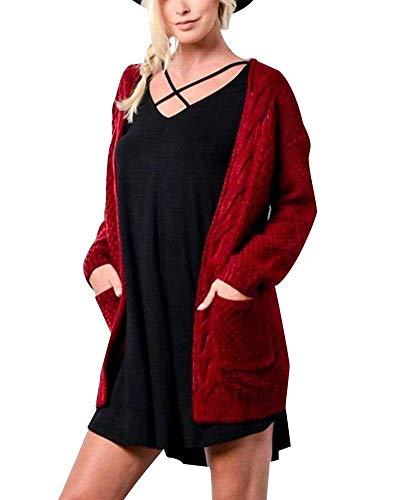 BoBoLily Outerwear Femme Printemps Automne Cardigan Elgante Mode Branch Loisir Spcial Style Vintage Veste en Tricot Chic Unicolore Manches Longues avec Poches Manteau en Tricot Manteau Winered