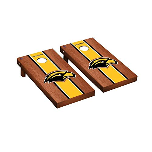 - Victory Tailgate Regulation Collegiate NCAA Rosewood Stained Stripe Series Cornhole Board Set - 2 Boards, 8 Bags - Southern Mississippi Golden Eagles