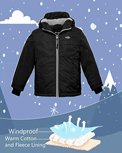 a5f9187c2 Wantdo Boy s Waterproof Fleece Lining Ski Jacket Hooded Wind Breaker ...