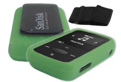 silicone-skin-case-cover-with-free-armband-for-sandisk-clip-jam-mp3-player-model-sdmx26-green