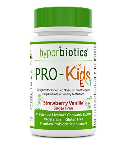PRO-Kids ENT: Childrens Oral Probiotics (Chewable & Sugar Free)—Uniquely Formulated to Support Your Childs Oral, Ear, Nose, and Throat Health (Strawberry Vanilla)—45 Chewable Probiotic Tablets.