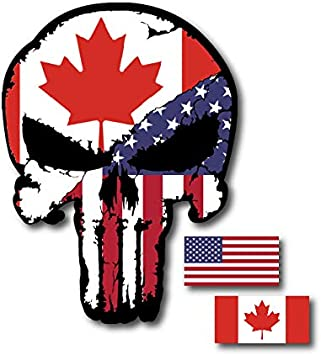 Punisher Skull American Flag Military Decal Sticker Graphic 5 Sizes