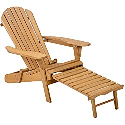 FDW Outdoor Wood Adirondack Chair Foldable w/Pull Out Ottoman Patio Furniture