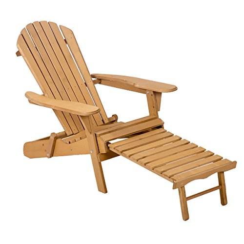 Mr Direct Wood Adirondack Chair Foldable w/ Pull Out Ottoman Patio Furniture Outdoor - Garden Furniture Foldable Wood
