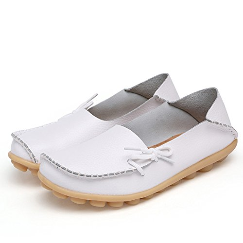 Flats Leather Fashion show Wild Driving Breathable brand White2 Toe Loafers Women's Casual Shoes best Moccasins Round xwqqFrY4I1