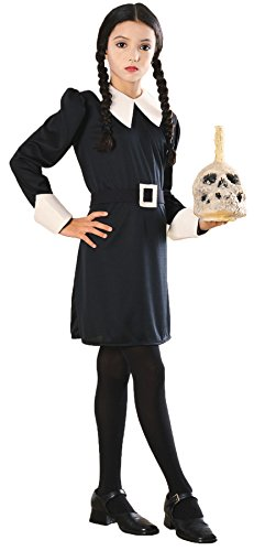 Girl's Addams Family Wednesday Outfit Child Fancy Dress Halloween Costume, Child M (8-10) Black]()