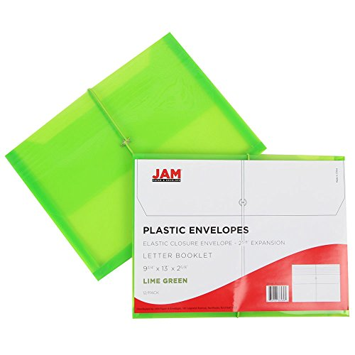 JAM PAPER Plastic Expansion Envelopes with Elastic Band Closure - Letter Booklet - 9 3/4 x 13 with 2.5 Inch Expansion - Lime Green - Sold Individually by JAM Paper (Image #4)