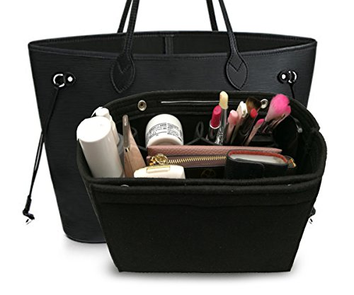 LEXSION Felt Fabric Purse Handbag Organizer Bag - MultiPocket Insert Bag Black M by LEXSION