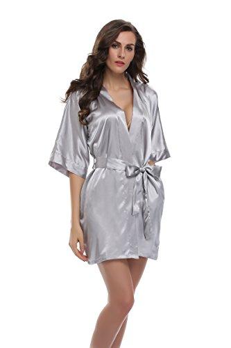 Sunnyhu Women's Pure Color Kimono Robe, Short (M, Silver)